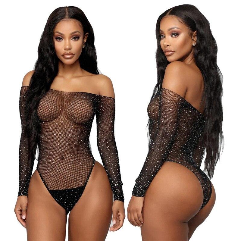 Sexy Women Mesh Fishnet Rhinestone Bodysuit Leotard Tops Ladies Black Hollow Out See Through Jumper Club Clothes