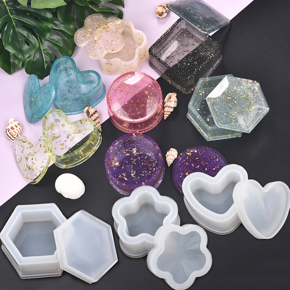 Resin Silicone Mold Storage Box Mold For Jewelry Making Heart Shape Cut Mold DIY Crystal Epoxy UV Gift Box Jewelry Tools Moulds