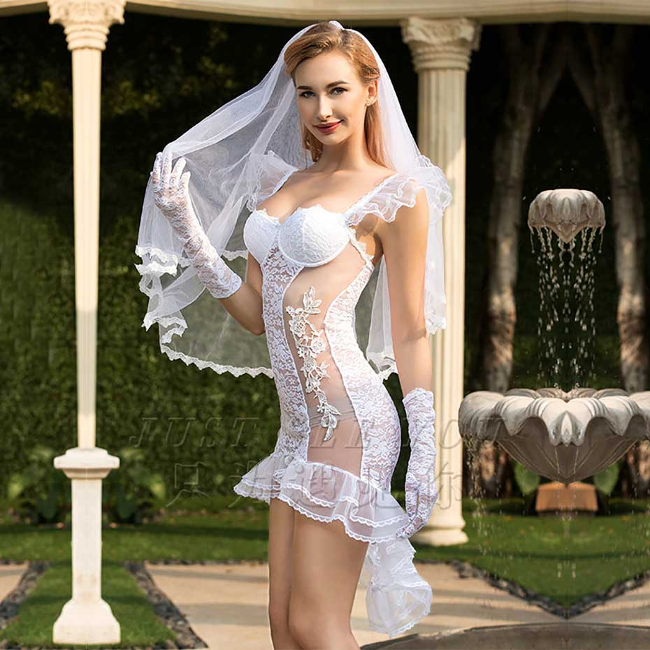 JSY Porno Women Sexy Babydoll Wedding Dress Cosplay Lingerie Sexy Hot Erotic Apparel Nightwear Erotic Lingerie Porno Costumes 2