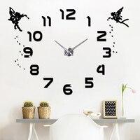 Reloj de pared grande de acrílico 3D diseño moderno silencioso DIY Adhesivo de pared reloj para sala de estar habitación de los niños decoración del hogar