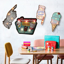 Cafe Bar Accessory LED Hanging Party Wall Lamp Pendant Ice Cream Night Light Sign wall sticker Decoration Art Wall Decor Light led hanging ice cream wall pendant light neon sign cafe bar signboard decoration