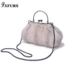 2019 Mink Fur Bag Studded with Diamonds Whole Mink Dinner Lady Bag Luxury Dumplings Bag Shoulder Cross-body Winter Chain Handbag studded decor embroidery bag