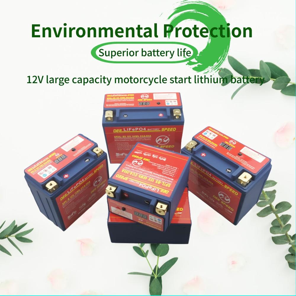 LifePo4-batería de 12V para motocicleta, cargador de 12Ah con Motor BMS, SAI CCA 450, batería de gel de hierro y litio para Moto 125