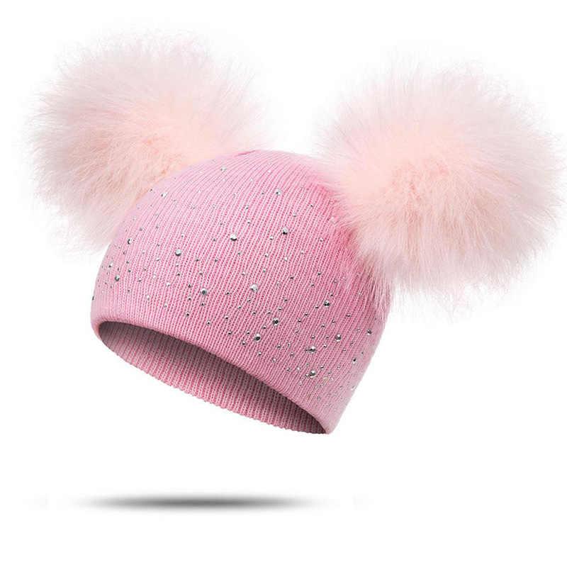 MOLIXINYU dzieci kapelusz maluch dzieci dziecko ciepłe zimowe wełniane kapelusz czapka dzianinowa futrzany pompon czapka z pomponem Boys Baby dziewczyny czapka 1-3Y Drop Shipping