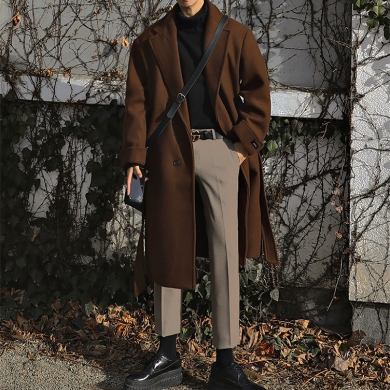 UYUK2019 Winter New Long Lapel Fabric Casual Loose Trend Temperament Youth Heavy Preppy Style Men Single Breasted Coat Hombre