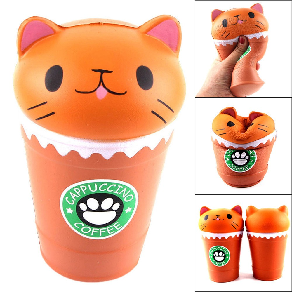 14cm Cut Cappuccino Coffee Cup Cat Scented Squishy Slow Rising Squeeze Toy Collection Cure Gift Kids Toys Juguetes Para Ninos