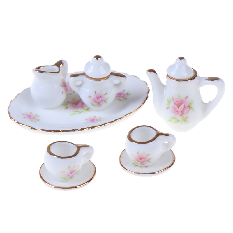 8Pcs/set Scale 1/12 Dollhouse Miniature Dining Ware Porcelain Tea Set Dish Cups Baby Kids Furniture Toys