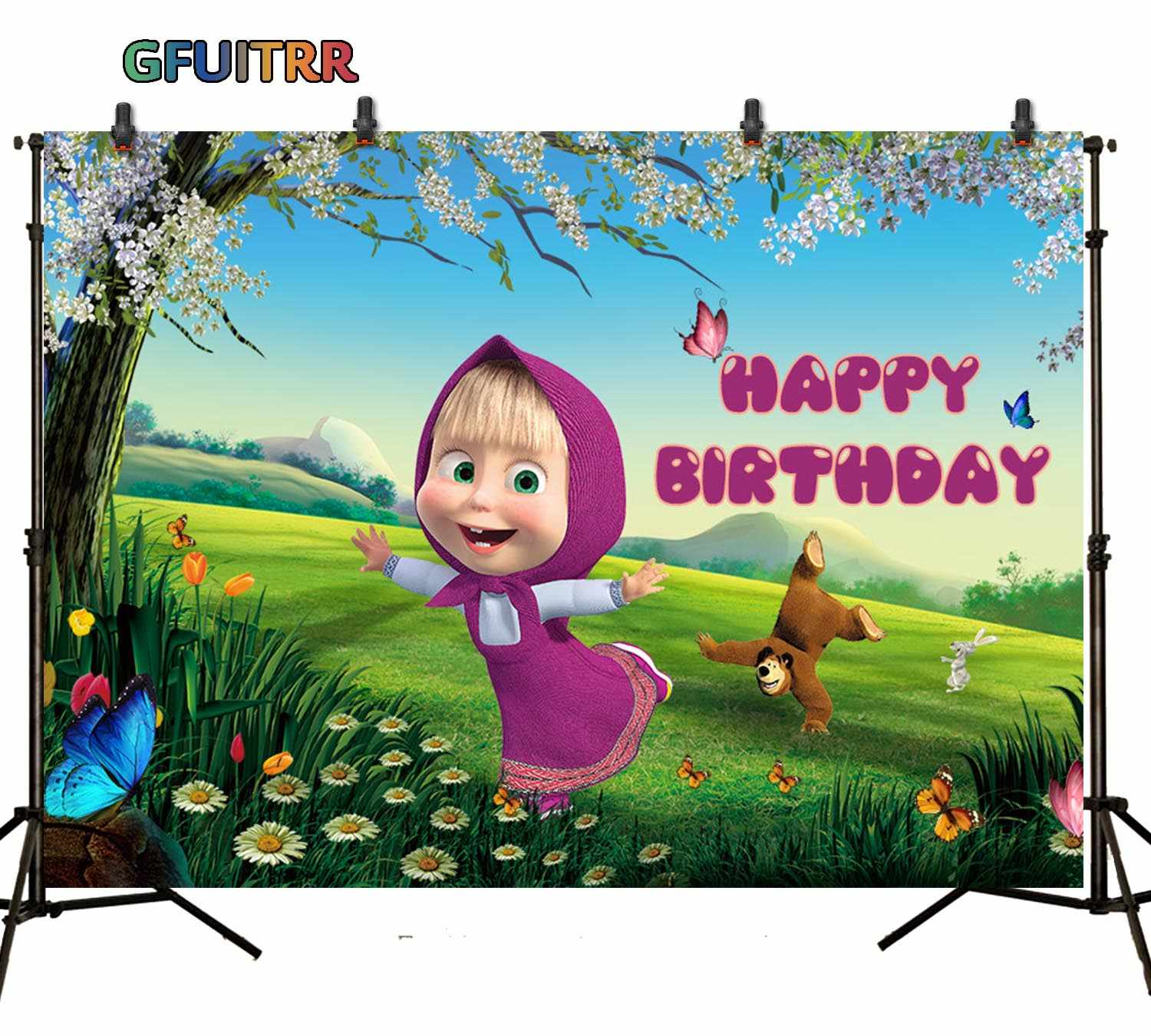 Masha and The Bear Party Backdrop Supplies Bayby Girl Birthday Party Decor Studio Shoot Prop Large Birthday Backgrounds Banner Background Wall Decorations