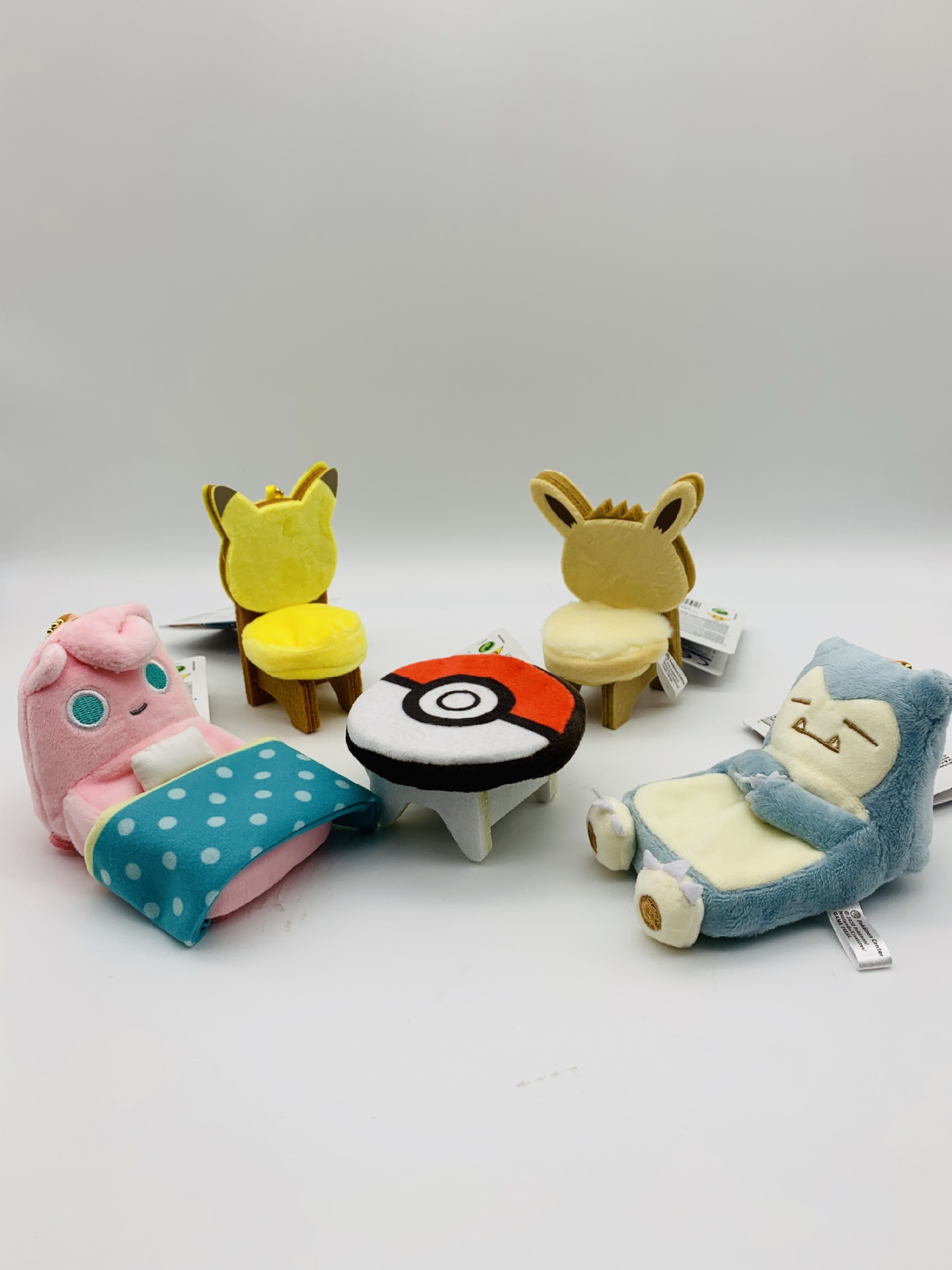 10cm Good Quality Plush MINI Play House Toy Table Chair <font><b>Bed</b></font> Eevee Jigglypuff Snorlax Ball Doll image