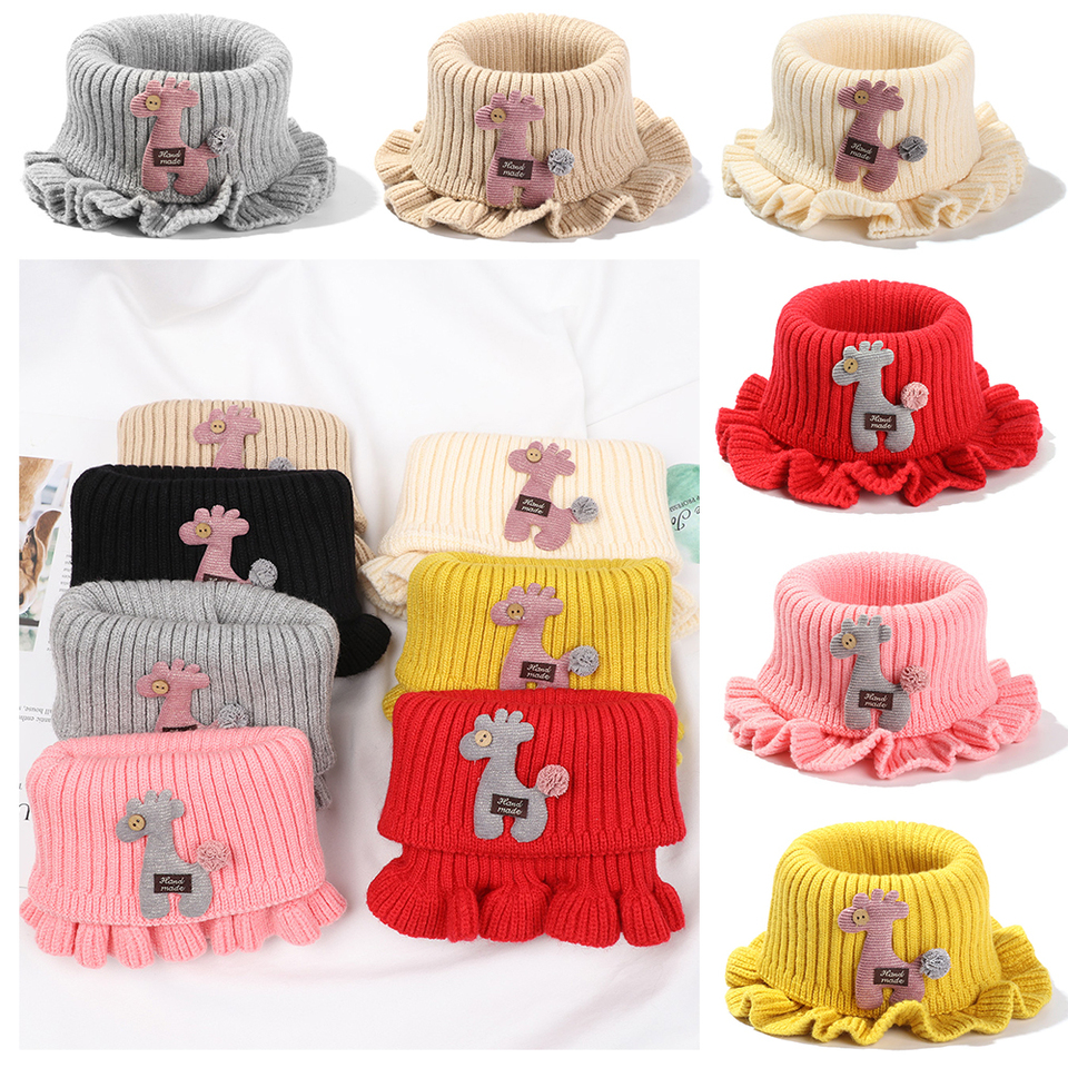 Details about  /Children solid color Winter Warmer Crochet Knitted Kids Scarf Cartoon
