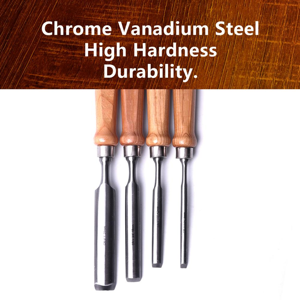 Tools : 4Pcs 8mm 12mm 18mm 25mm Semi-Circular Woodworking Carving Chisels Chrome Vanadium Steel Wood Gouge Chisels Diy Hand Tools