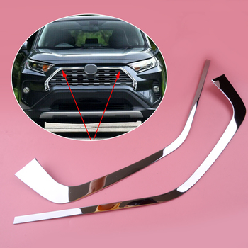 DWCX 2Pcs Car Chrome Stainless steel Front Grill Grille Cover Decorative Trim Strips Mouldings Fit for Toyota Rav4 2019 dwcx 11 3x8 cm black plastic front right bumper tow hook eye cap cover fit for toyota rav4 eu 2016 2017 2018