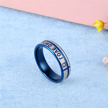 New Blue Stainless Steel Rings For Women Engagement Ring Men Letter Ring Men Jewelry Couple Wedding Rings For Women Female Gifts(China)