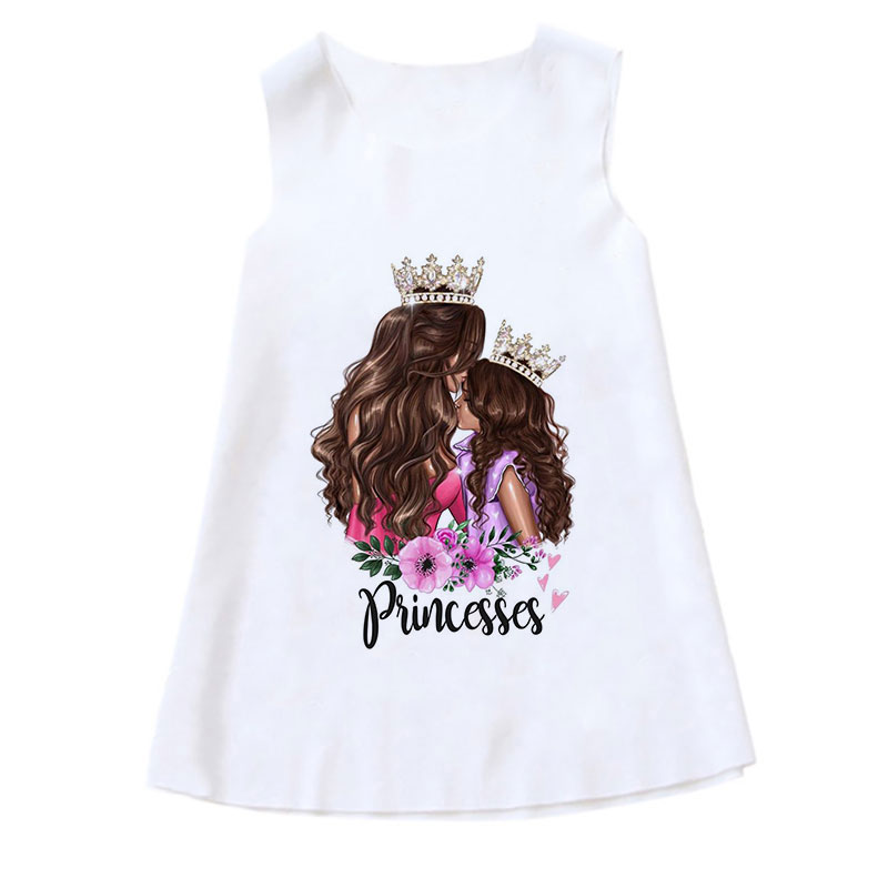 New Casual Summer Sleeveless 4T-9T Girls Dresses Kids Fashion Lady Super Mom Dress Print Children Clothes Girl Active Sundress 5