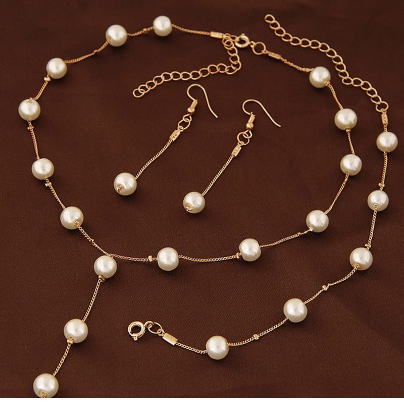 Simulated Pearl Fashion Jewelry Set For Women Girl Wedding Statement Necklace Earrings And Bracelet Set Party Jewellery 2019