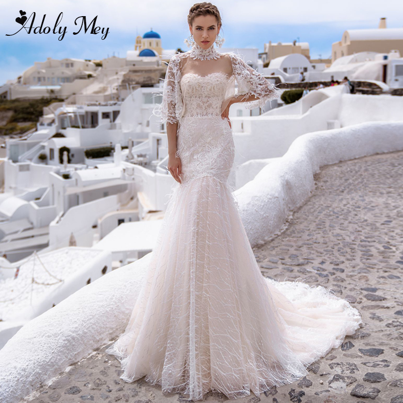 Adoly Mey Charming Sweetheart Neck Backless Mermaid Wedding Dresses 2020 Gorgeous Appliques Court Train Lace Boho Wedding Gown