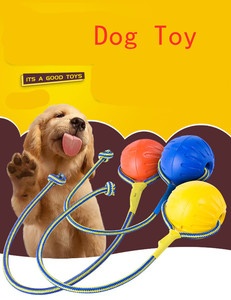 Teeth Indestructible Bite Rubber Puppy Funny Training Ball Chew Toys Play Fetch Solid with Carrier Rope Pet Dog(China)