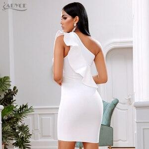Image 5 - ADYCE 2019 nouveau été femmes robe de pansement célébrité soirée robe de soirée Sexy une épaule volants moulante Club robes Vestidos