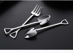 Cutlery-Set Spoon-Fork Coffee-Ice-Cream Stainless-Steel Kitchen 1 1PC Shovel-Shape Long-Handle