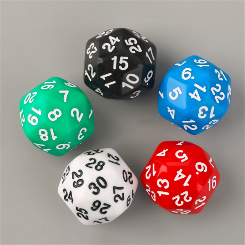 1 Piece High Quality 30 Sided D30 25mm Digital Dice For Board Game Acrylic Dices With 1-30 Number 5 Colors