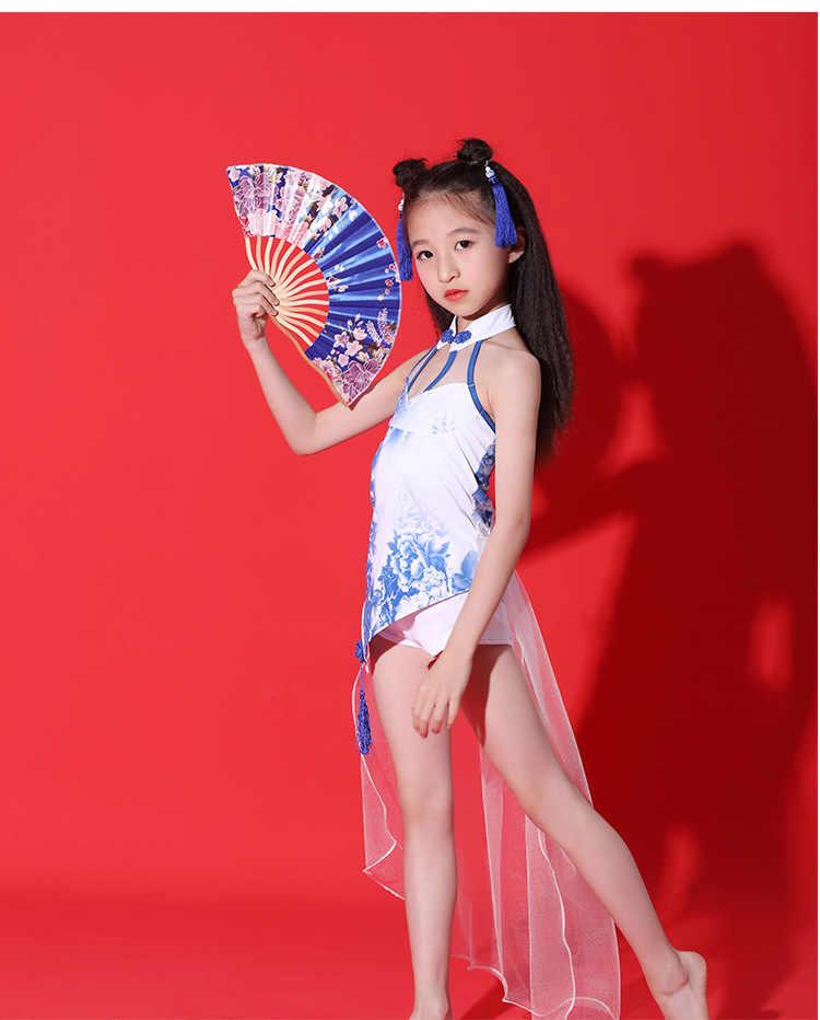 Zanger Jurk Chinese Traditionele Stijl Dans Podium Outfits Modern/Latin Groep Prestaties Tonen Jurk Jumpsuit Blauw