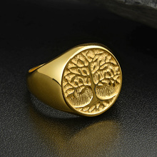 Valily 316L Titanium Steel Gold Color Tree of Life Ring Punk Rock Mens Rings Jewelry Christmas Gift US Size 7-14 drop shipping