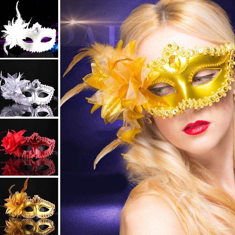 Маскарадная маска для свадьбы, карнавала, вечерние, для выступлений, фиолетовый костюм, сексуальная женская маска, Венеция, перо, сексуальна...