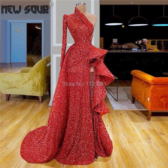 Vestido De noche para celebraciones, transparente, alto con abertura, largo, 2019, para fiesta De costura, musulmán, turco, Dubái