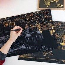 Всемирно известный вид на ночной город скребковая живопись креативный город скретч ночной вид блокнот Рисование игрушки для детей обучающая игрушка, подарок