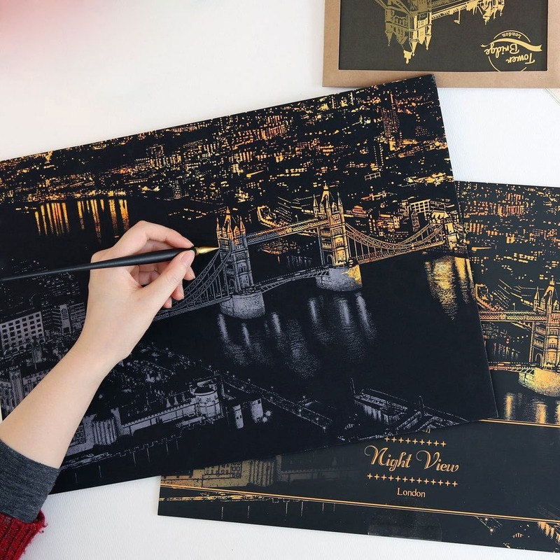 World Famous City NIght View Scraping Painting Creative City Scratch Night View Sketchpad Drawing Toys For Kid Learning Toy Gift