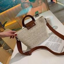 Women's handbag new summer European and American fashion straw woven bag large capacity Messenger Shoulder Bag 2017 new european and american fashion lady bag hand shoulder bag