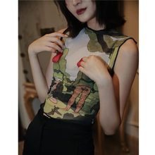 Korea Harajuku Tank Top Women Crop Top Voile Tanktop Summer Underwear Pattern Print Green Top Femme 2020 Clothes Z090(China)