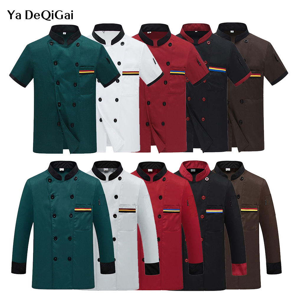 Food Service Chef Unifrom Unisex Kitchen Work Shirt 3 Colors Short/long Sleeved Chef Jacket Double Breasted Wholesale Chef Coats