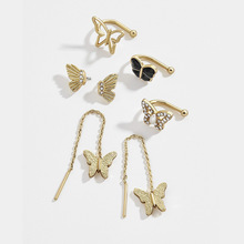 Gold Filled Chain Butterfly Earrings Bangle for Woman Crystal CZ Ear Stud mariposa Jewellery Tiny Cuff