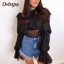 Darlingaga Fashion Transparent Chiffon Blouse Long Flare Sleeve Crop Tops Autumn Shirt Women Bow Sexy Ladies Blouses See Through(China)