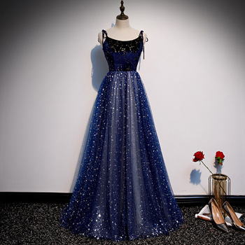 Navy Blue Spaghetti Sexy Evening Party Dress Sequins Formal Exquisite Dress Women Full Length Prom Gown A-Line Oversize 4XL