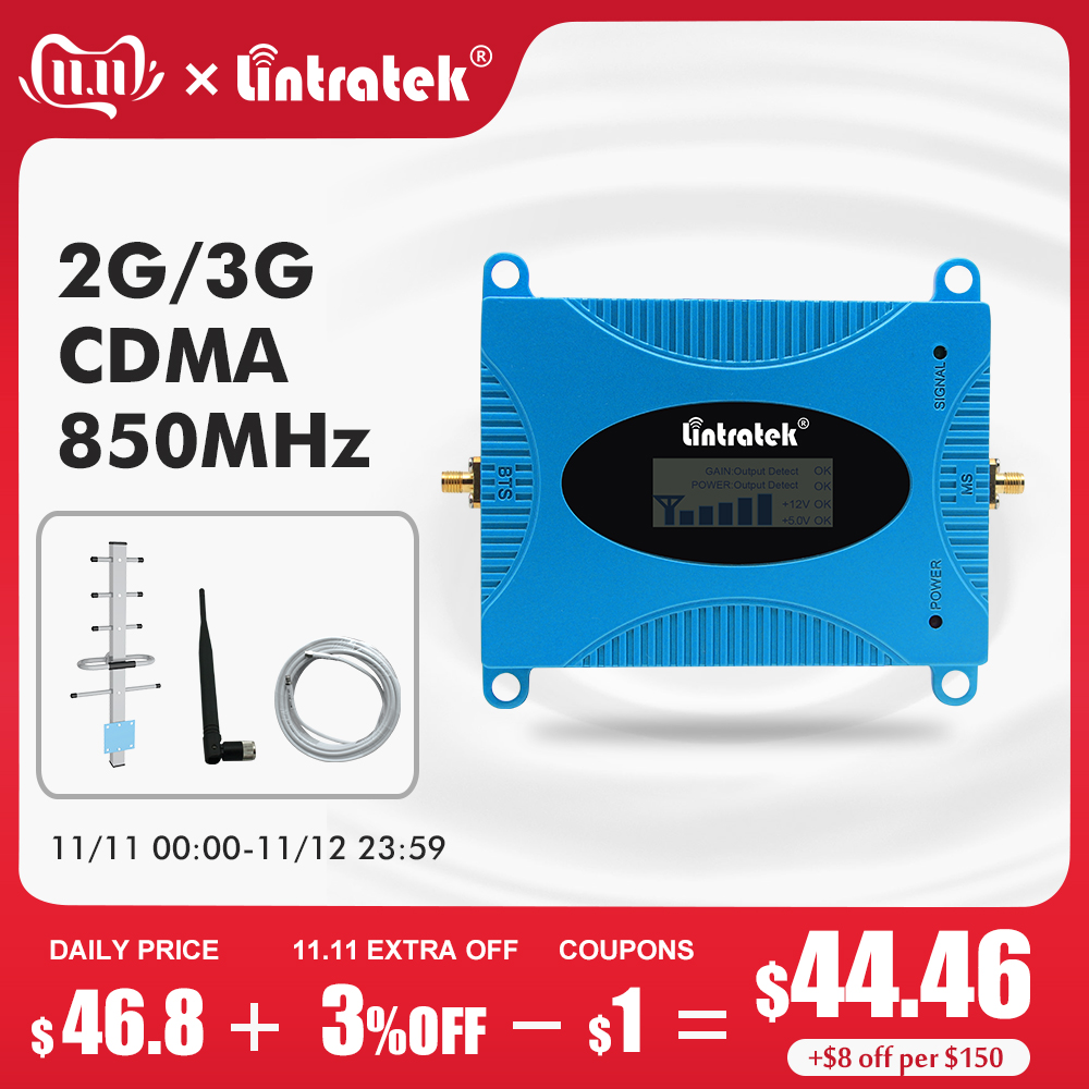 Lintratek GSM 850 CDMA UMTS Mobile Phone Amplifier LTE 850mhz Celular Signal Booster 2g 3g 4g Cellular Repeater Repetidor Set #6-in Signal Boosters from Cellphones & Telecommunications