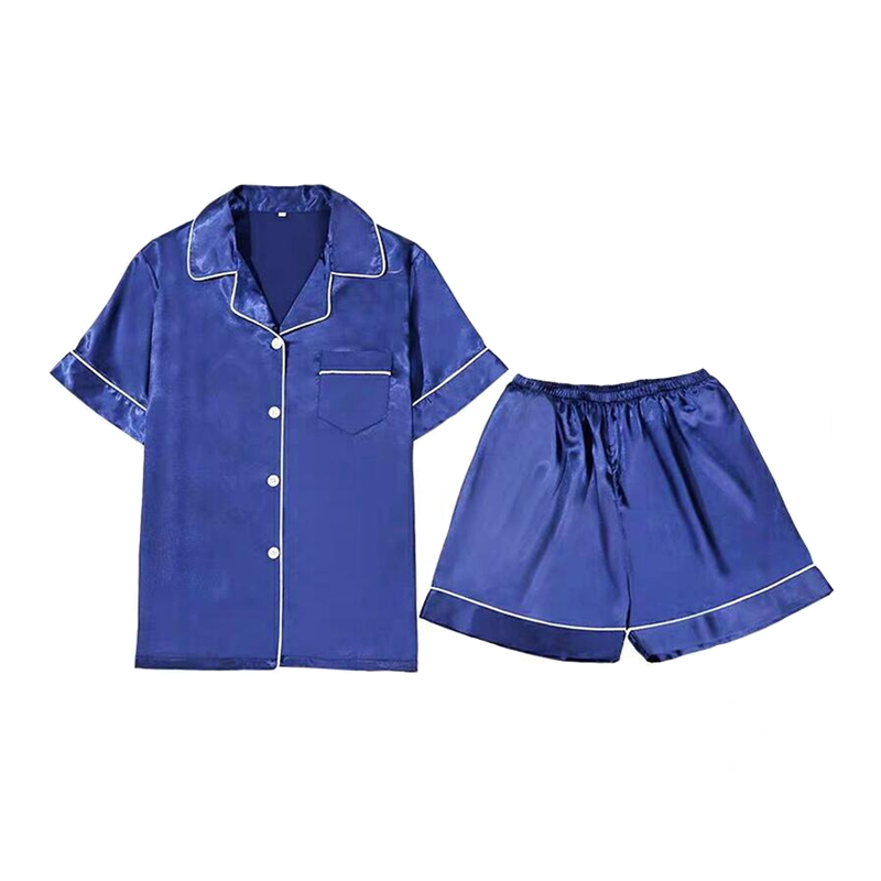 Men Pyjamas Nightgown Satin-Silk Male Summer Short For Sleepwear Plus-Size 3XL XXL