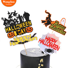 1 Set Ghost Witch Pumpkin Bat Theme Happy Halloween Cake Topper Kids Favorite Party Supplies DIY Accessories