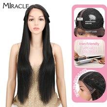 Miracle # 1B Natural Black L przedziałek z boku proste włosy syntetyczne peruki dla kobiet włókno termoodporne koronkowa peruka na przód