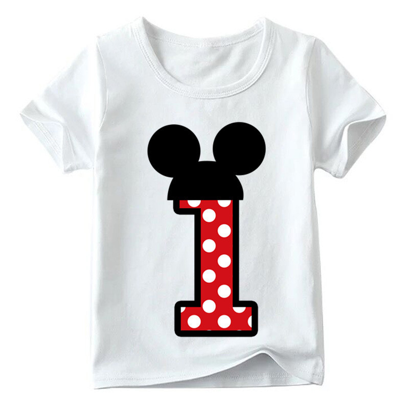 Baby Boys Number T-shirt For Children Girls Cartoon Print T-shirt Cute Funny Letter Present Clothes Kids Number 1-9 Birthday