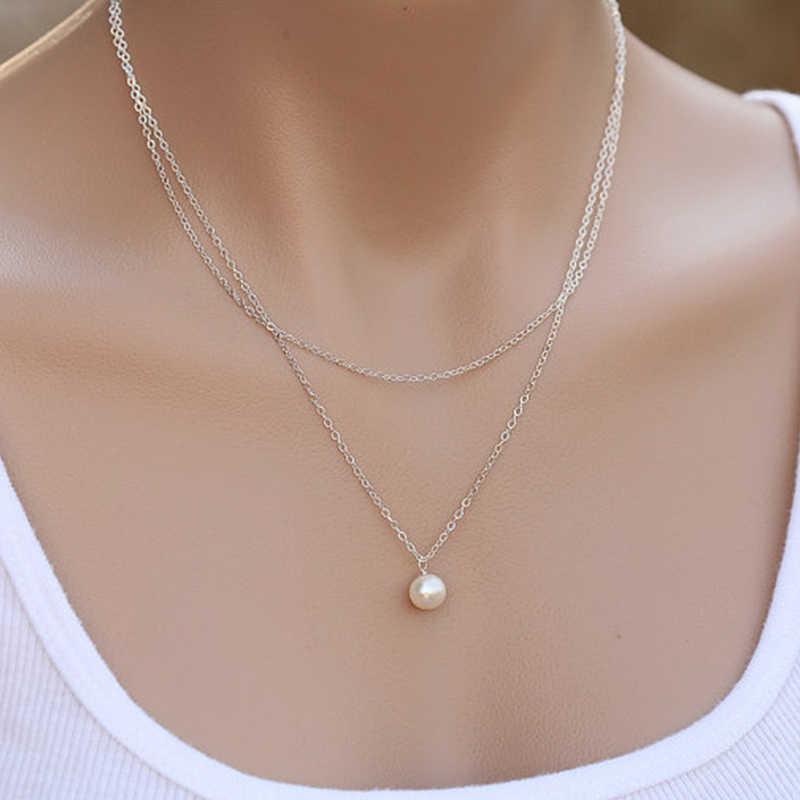 Słodka prosta dwuwarstwowa perła obojczyk naszyjnik uroczy damski Choker łańcuszek wisiorek kobieta moda nowy rok biżuteria prezenty