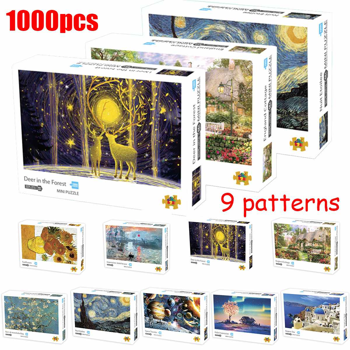 Quebra-cabeça quebra-cabeças paisagem imagem mini 1000 peças quebra-cabeça de brinquedo para adultos crianças brinquedos educativos jogos bonito presente