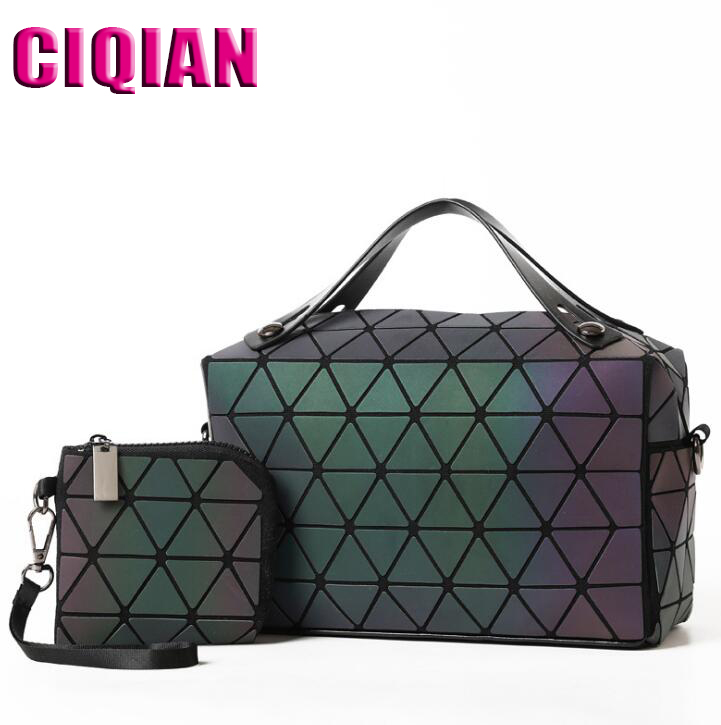 HOT Women Luminous Bag Quilted Geometry Shoulder Bags Laser Plain Folding Handbags Matte Color Free Shipping