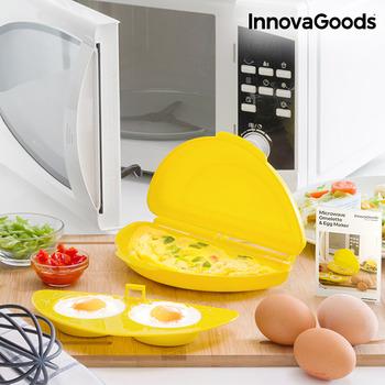 InnovaGoods mikrofalowy omlet i ekspres do jaj z przepisami akcesoria do jajka sadzone 21x5x12 cm żółty PP (bez BPA) tanie i dobre opinie ES (pochodzenie) Ekologiczne Z tworzywa sztucznego