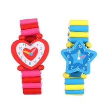 T5EC Novelty Colorful Toy Wooden Watch Toys Interactive Toy Party Watch Models Wood for Long Time to Use Sturdy Wristband