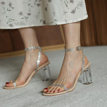 2020 summer new fashion wild high-heeled sandals rhinestone word buckle trend temperament crystal heel Z942