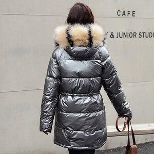 Image 4 - ผู้หญิงเสื้อคลุมยาวลงเสื้อโค้ท2020ฤดูหนาวหนาลงเสื้อแจ็คเก็ตกระเป๋าWarm Outwearเงินขนาดใหญ่หญิง