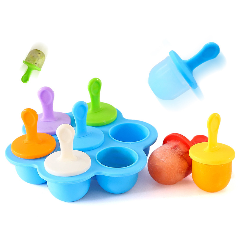 Baby Food Container Infant Fruit Breast Seven-hole Milk Powder Snack Box Ice Tray Storage Silicone Freezer Tray Crisper