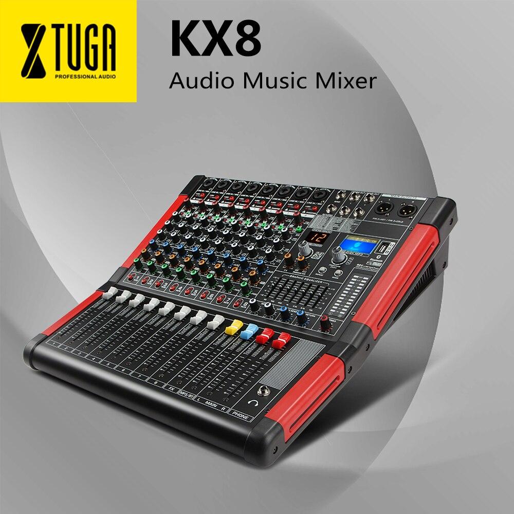 13647.98руб. 5% СКИДКА|XTUGA KS 8 8 канальный звуковой миксер звуковая плата с цифровым дисплеем MP3, Bluetooth, эквалайзером, эффекты для сцены Kraoke для DJ, вечеринки|Микрофоны| |  - AliExpress